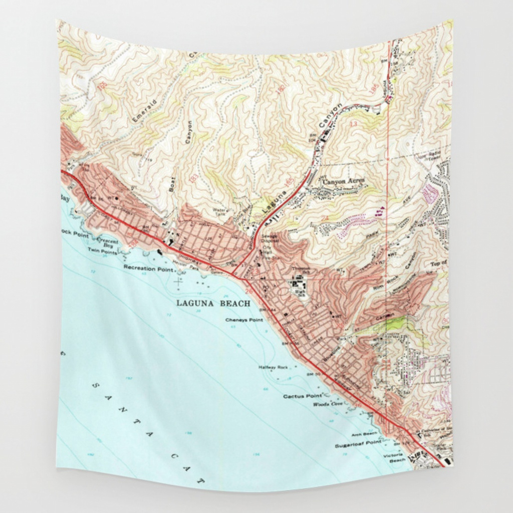 Vintage Map Of Laguna Beach California (1965) Wall Tapestry - Laguna Beach California Map