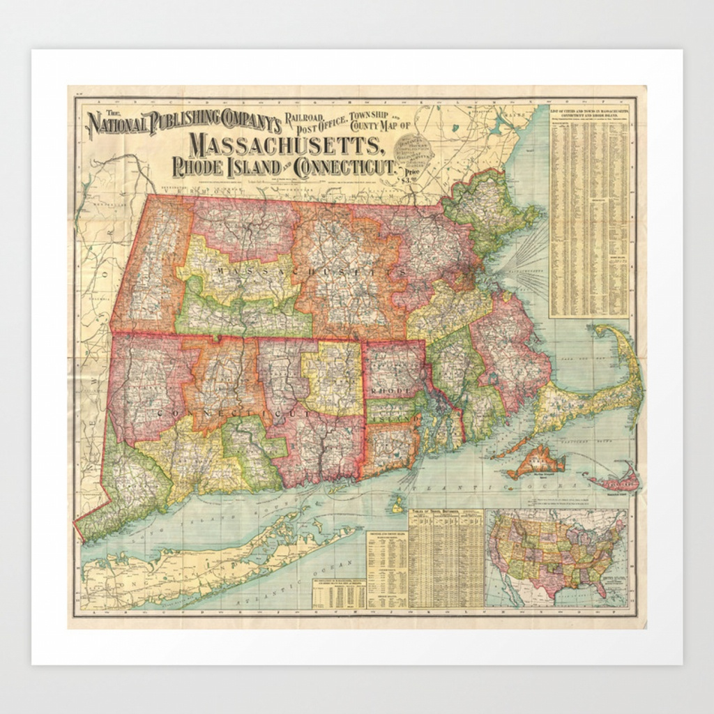 Vintage Map Of New England States (1900) Art Printbravuramedia - Printable Map Of New England States