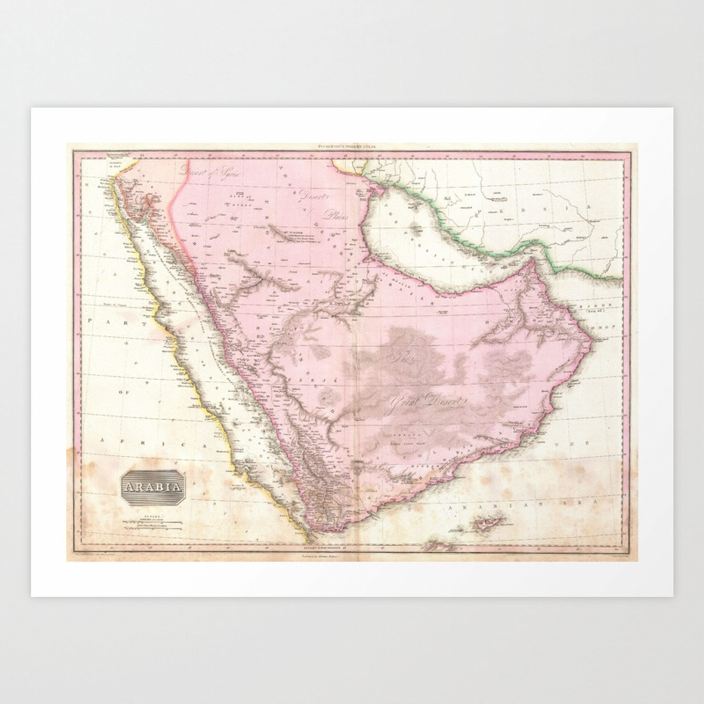 Vintage Map Of Saudi Arabia (1818) Art Printbravuramedia | Society6 - Printable Map Of Saudi Arabia