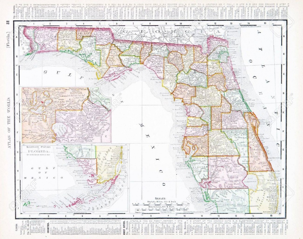 Vintage Map Of The State Of Florida, Usa, 1900 Stock Photo, Picture - Florida Map 1900