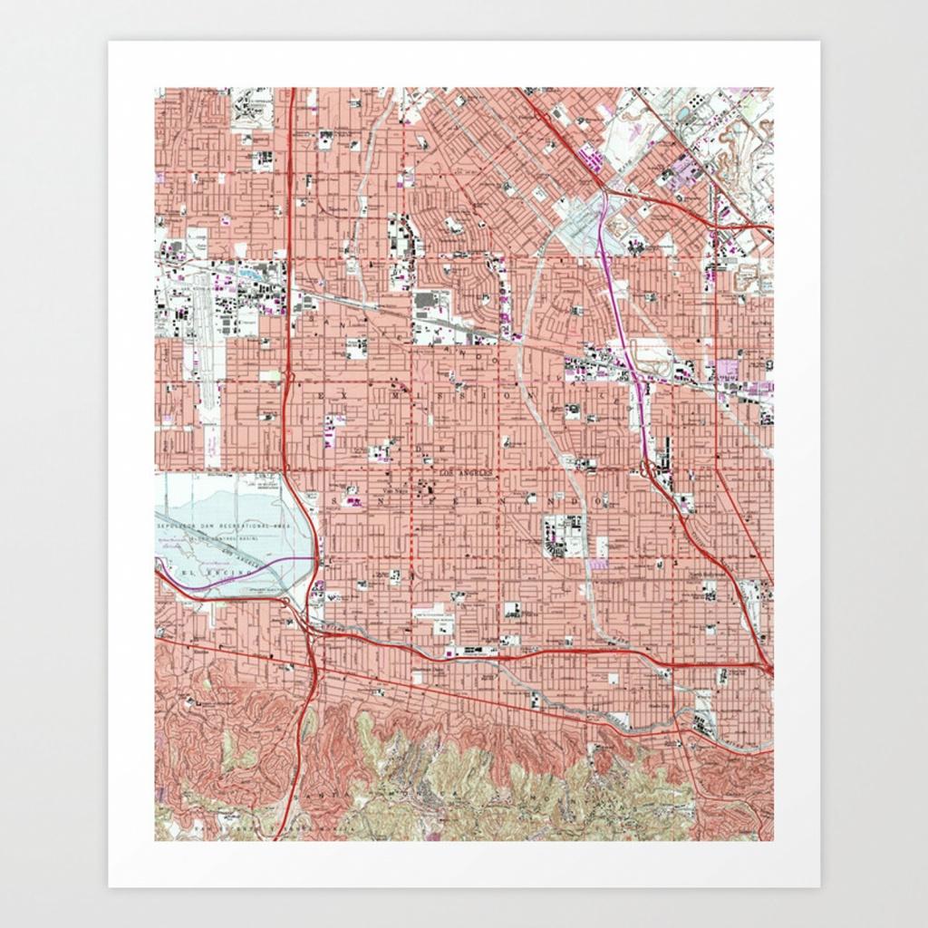 Vintage Map Of Van Nuys California (1966) Art Printbravuramedia - Van Nuys California Map