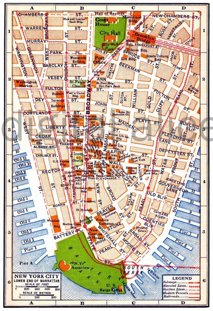 Vintage Nyc Map - Old Map 1915 Lower Manhattan New York City - Colorful  Antique Map Instant Download Digital Printable Map - Manhattan City Map Printable