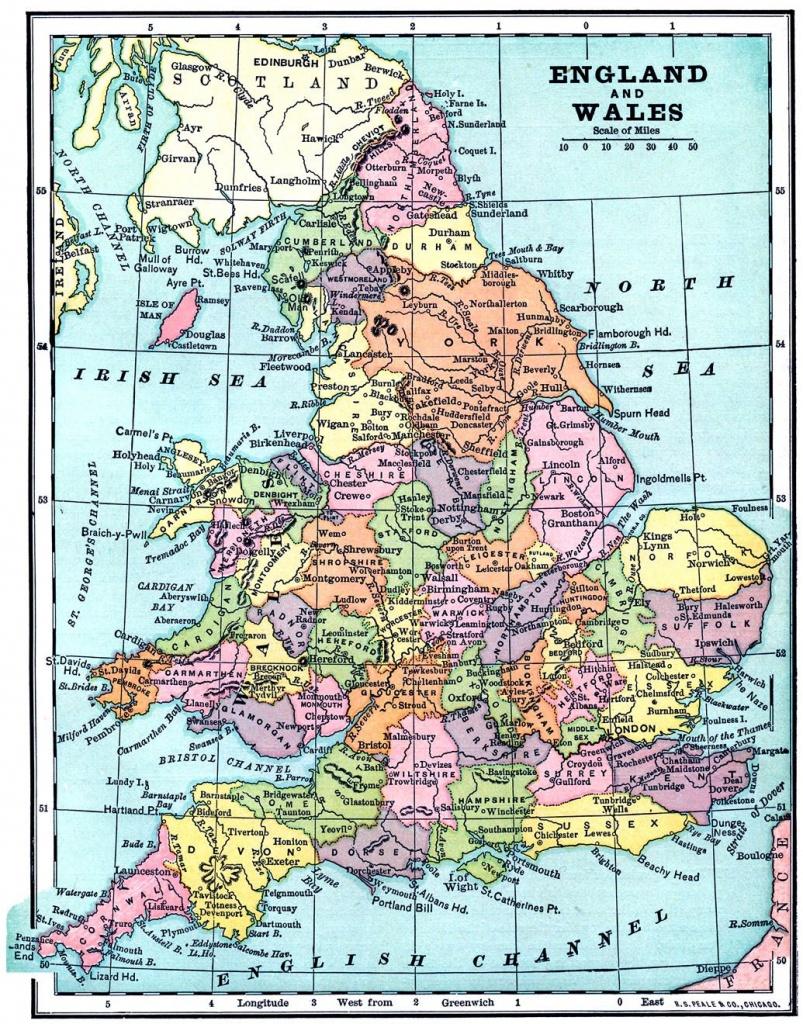 Vintage Printable - Map Of England And Wales | World Of Maps - Printable Map Of East Anglia