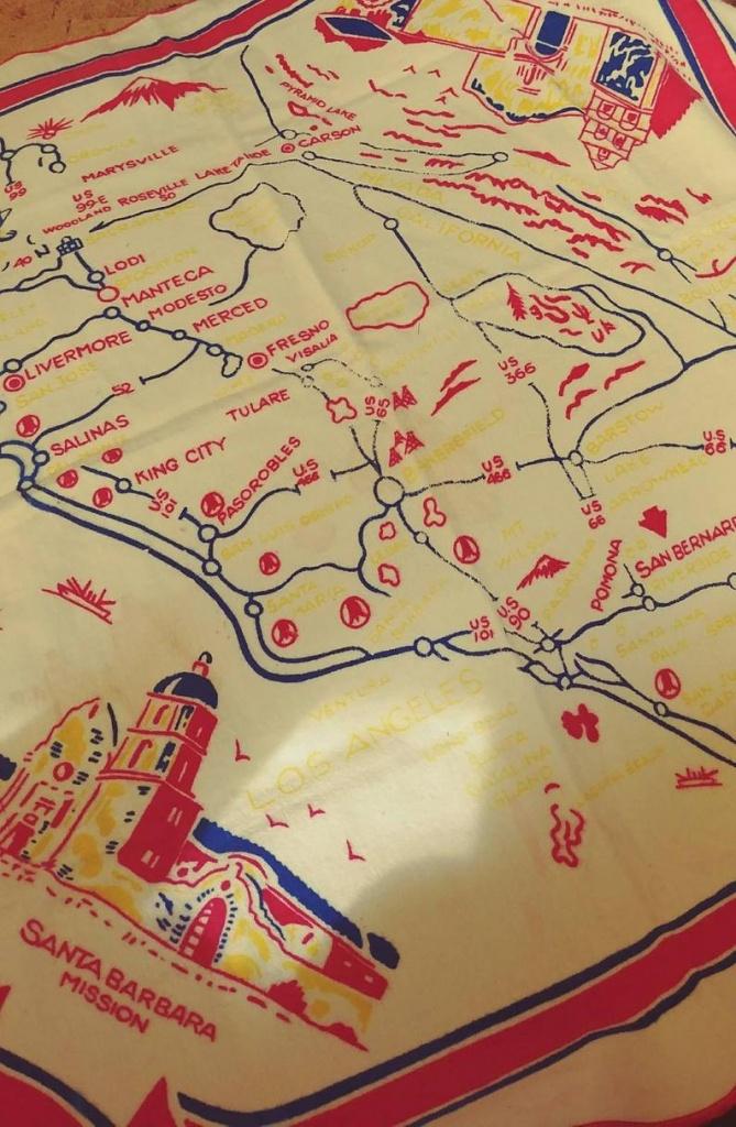 Vintage Soft Felt California Map Table Cloth - Vintage California Map Tablecloth