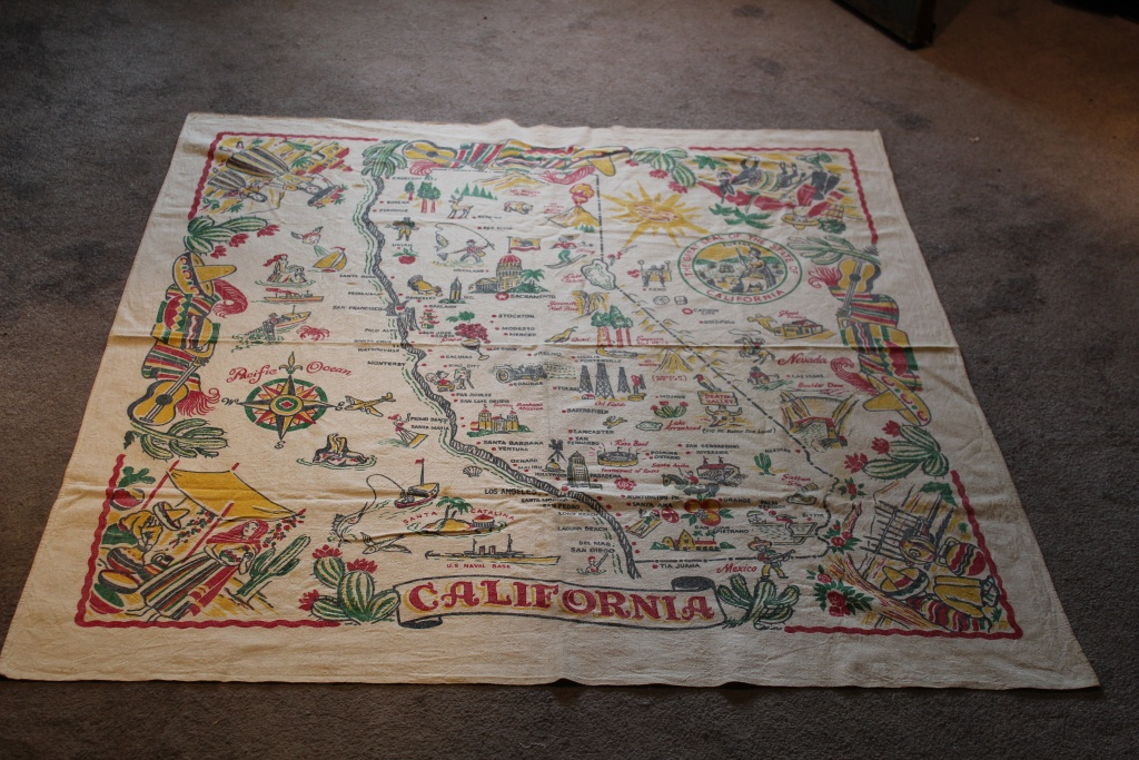 Vintage Tablecloth State Of California Map 1940's Colorful Fiesta Ware - Vintage California Map Tablecloth