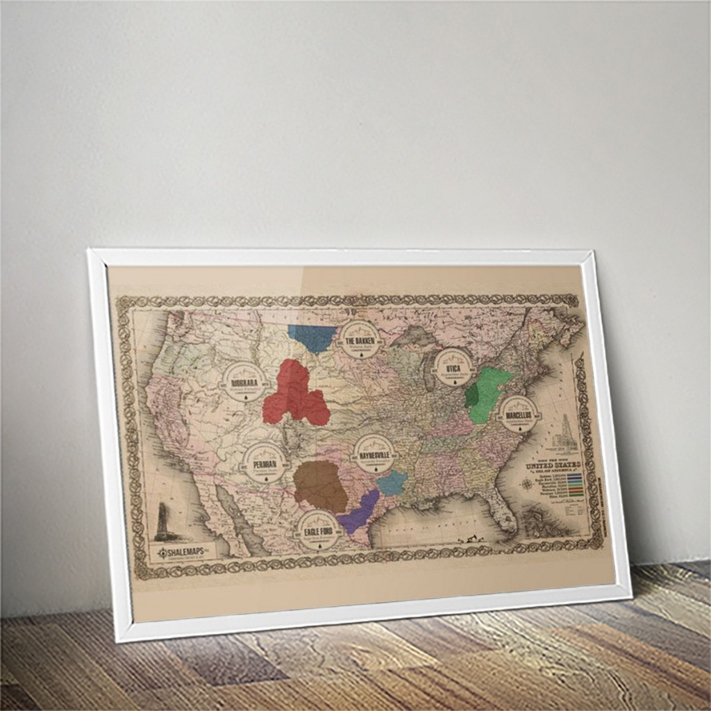 Vintage Texas Spindletop Shale Oil Map | Shale Maps Pro - Texas Map Canvas