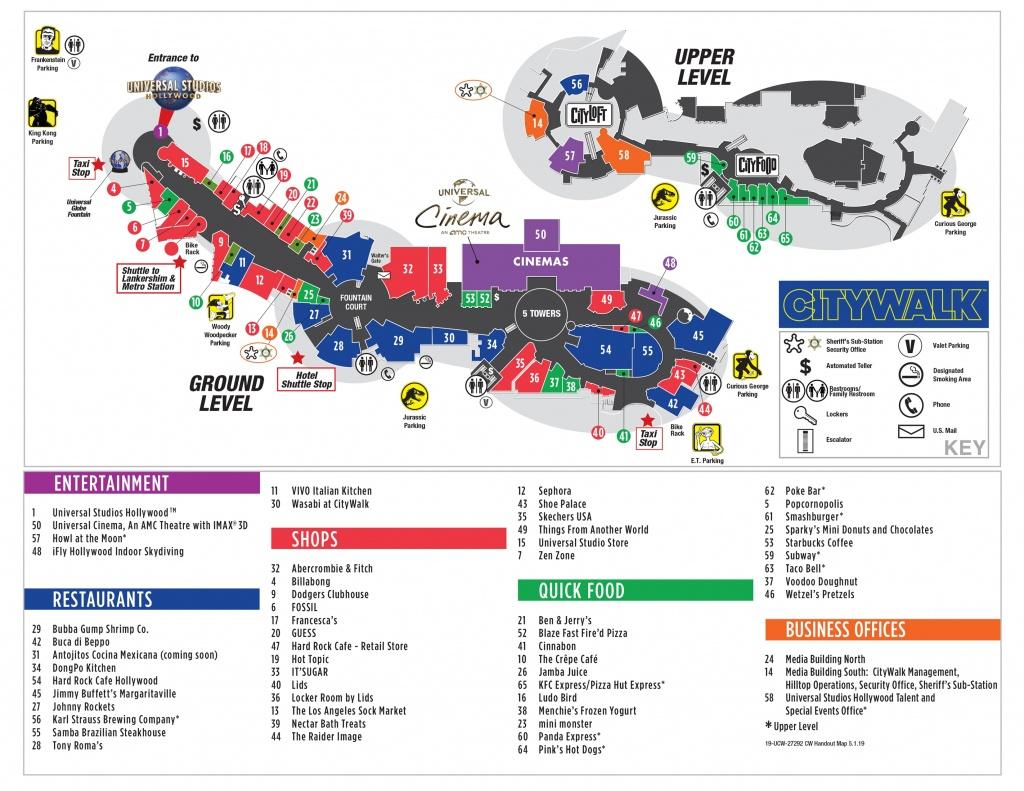 Visitor Map | Citywalk Hollywood - Universal Studios California Map Of Park