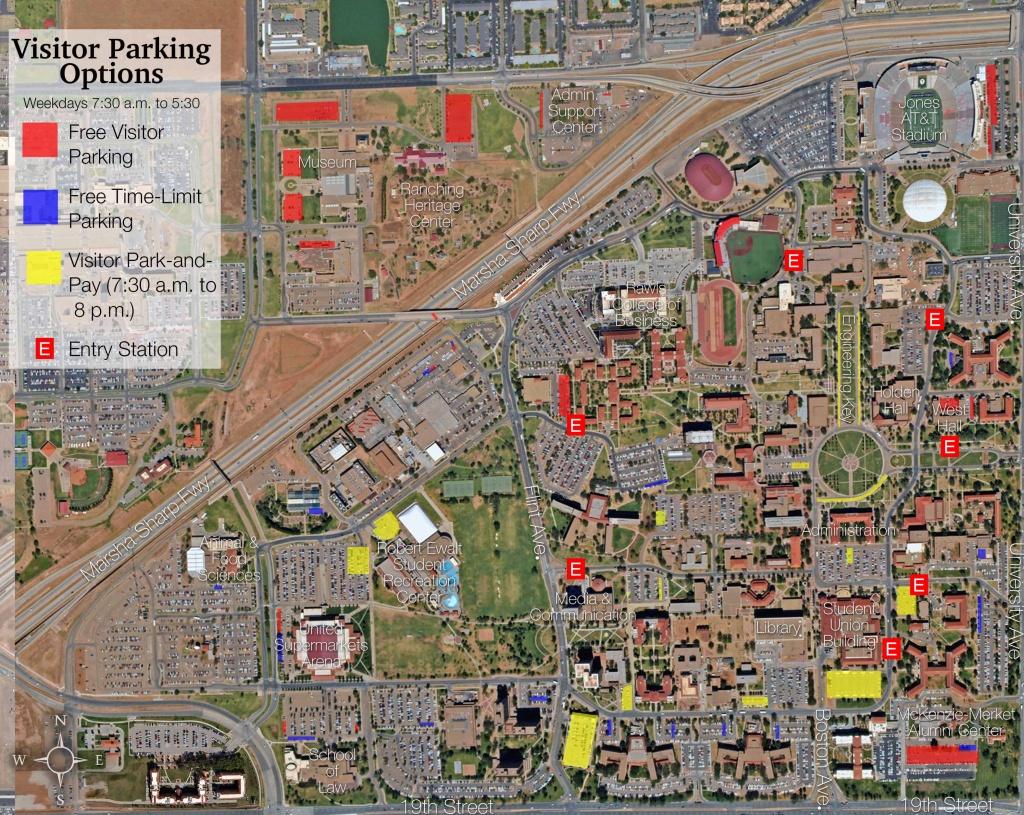 Visitor Parking Map   Transportation & Parking Services   Ttu - Texas Tech Football Parking Map 2017