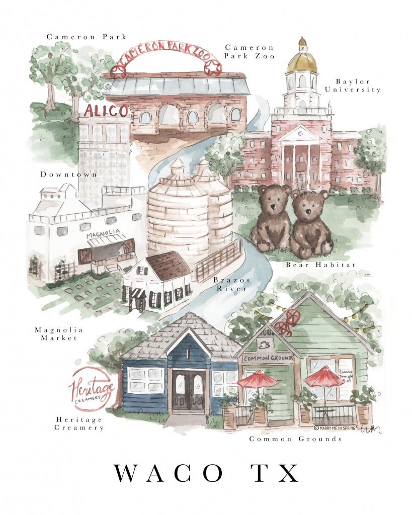Waco Map Print (New) | Journaling Away | Waco Texas, Magnolia Journal - Magnolia Texas Map