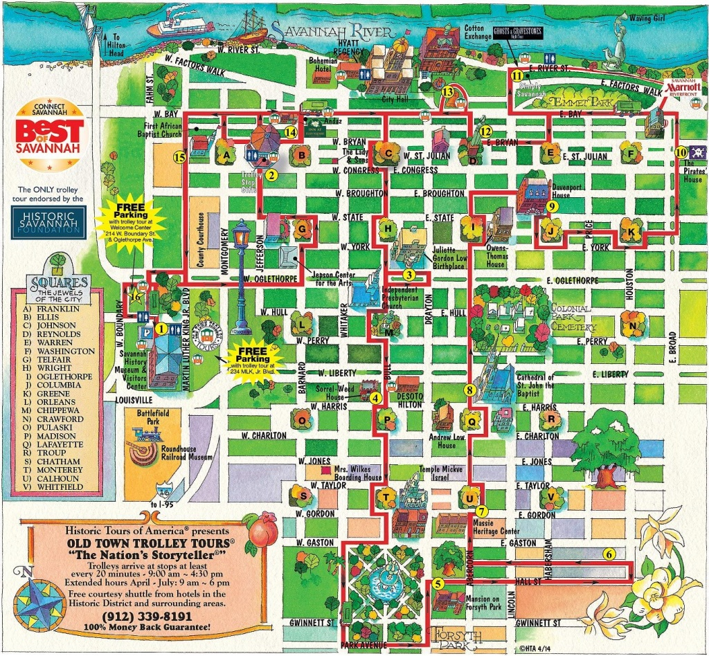 Walking Map Savannah Historic District | Map For Savannah Georgia - Printable Map Of Savannah