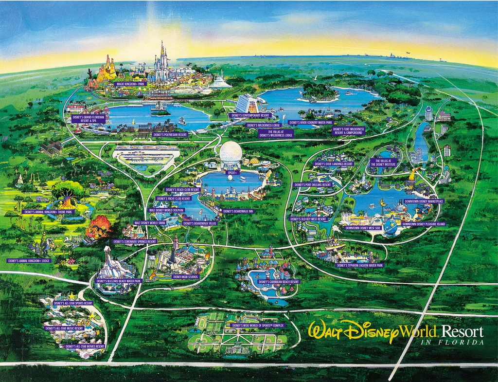 Walt Disney World Vacation Planning Video From 1995 – Travelivery® - Map Of Florida Showing Disney World