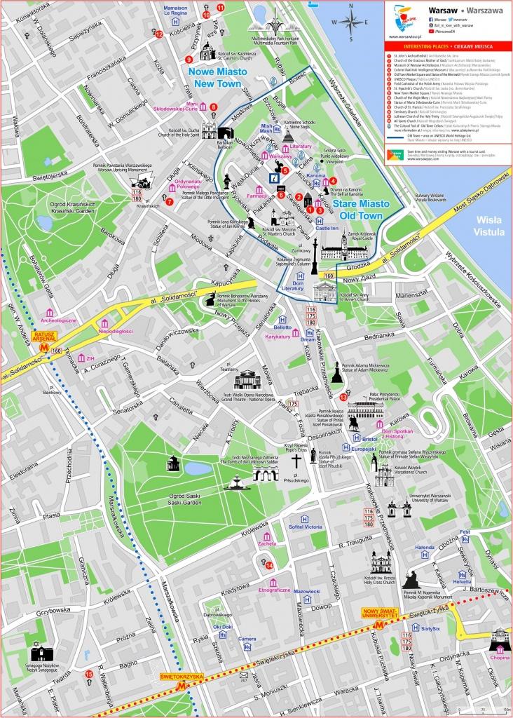 Warsaw City Center Tourist Map - Warsaw Tourist Map Printable
