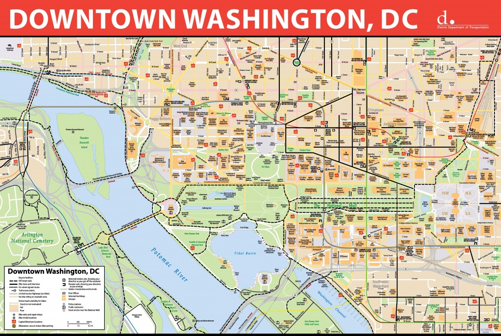 Washington, D.c. Downtown Bike Map - Map Of Downtown Washington Dc Printable