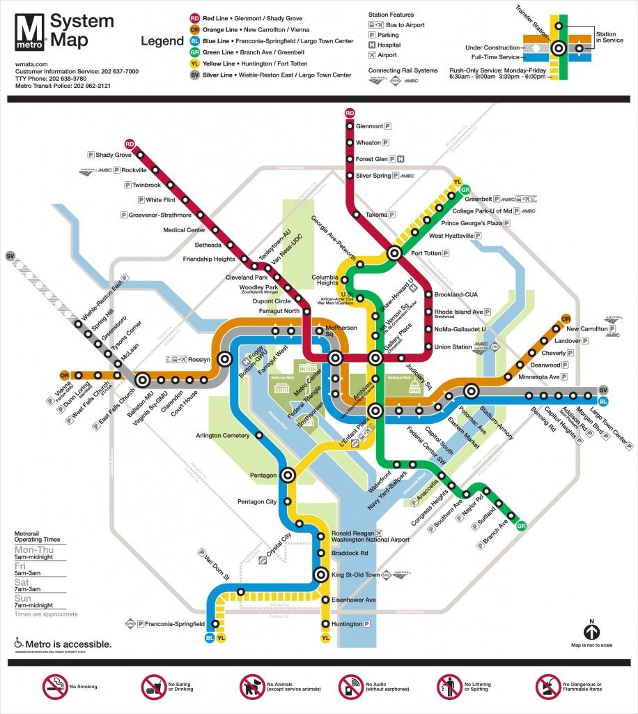 Washington, D.c. Metro Map - Printable Metro Map Of Washington Dc