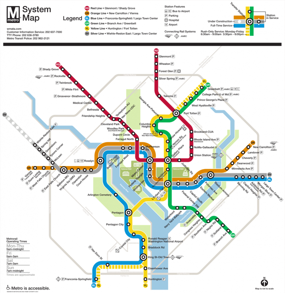Washington, D.c. Subway Map | Rand - Washington Dc Subway Map Printable