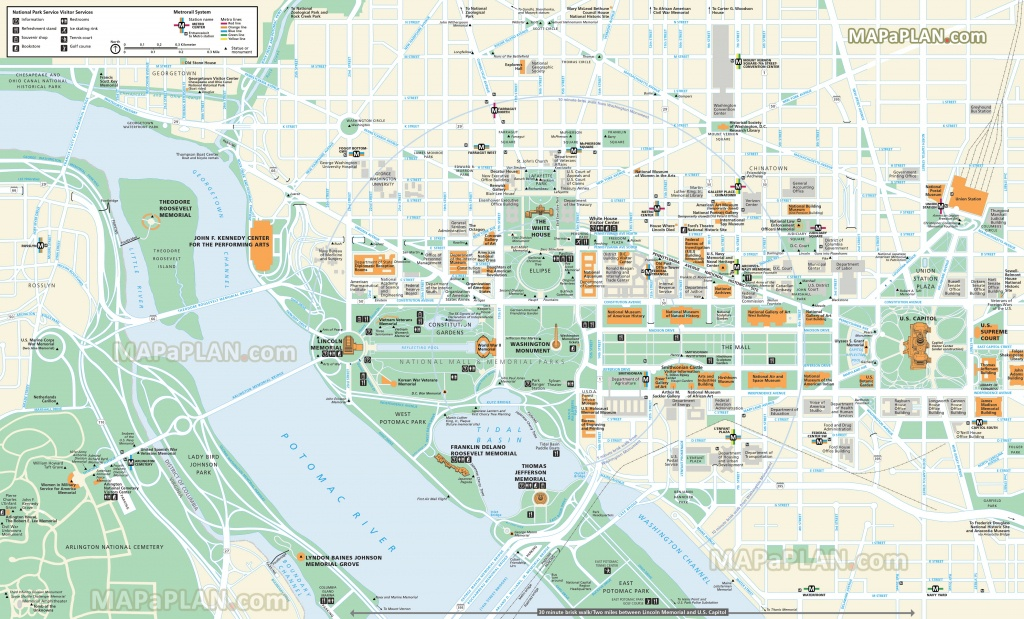 Washington Dc Maps - Top Tourist Attractions - Free, Printable City - Printable Map Of Dc