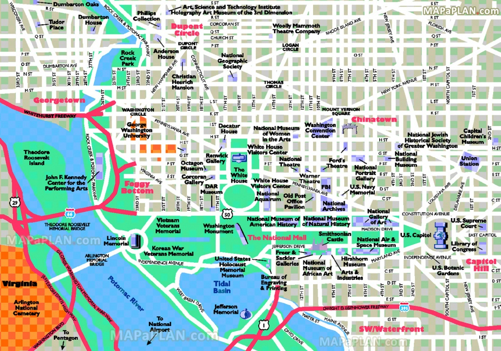 Washington Dc Maps - Top Tourist Attractions - Free, Printable City - Printable Map Of Washington Dc Sites