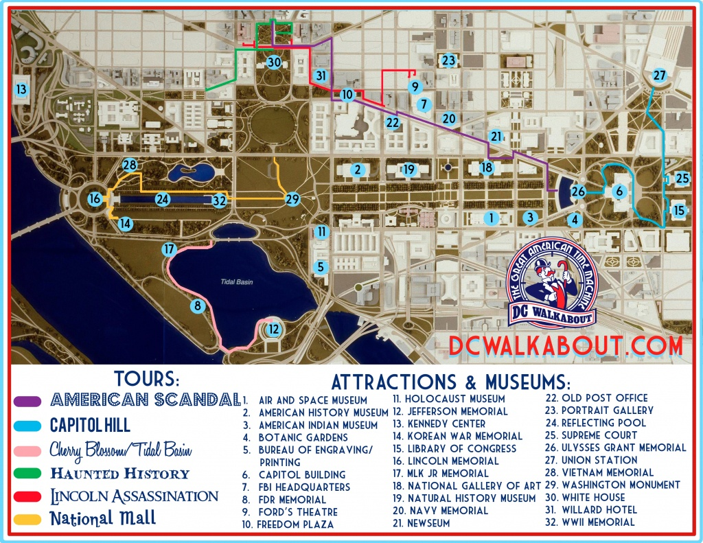 Washington Dc Tourist Map   Tours & Attractions   Dc Walkabout - Map Of Downtown Washington Dc Printable