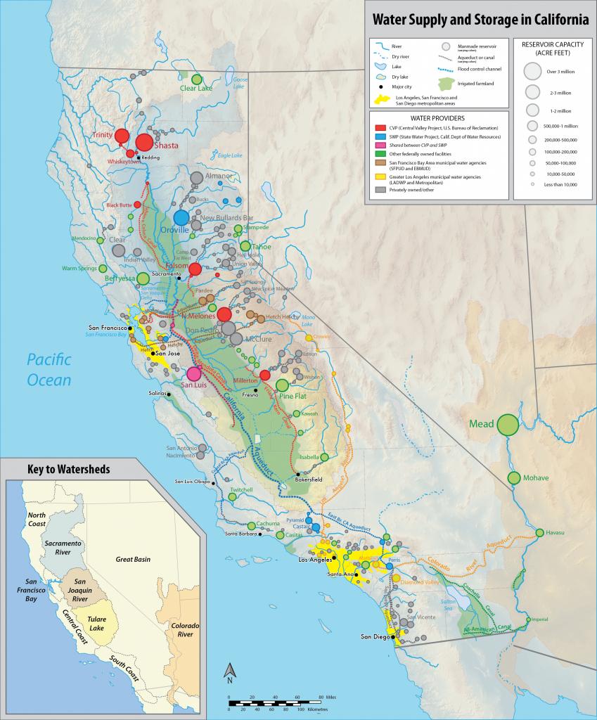 Water In California - Wikipedia - Lakes In California Map