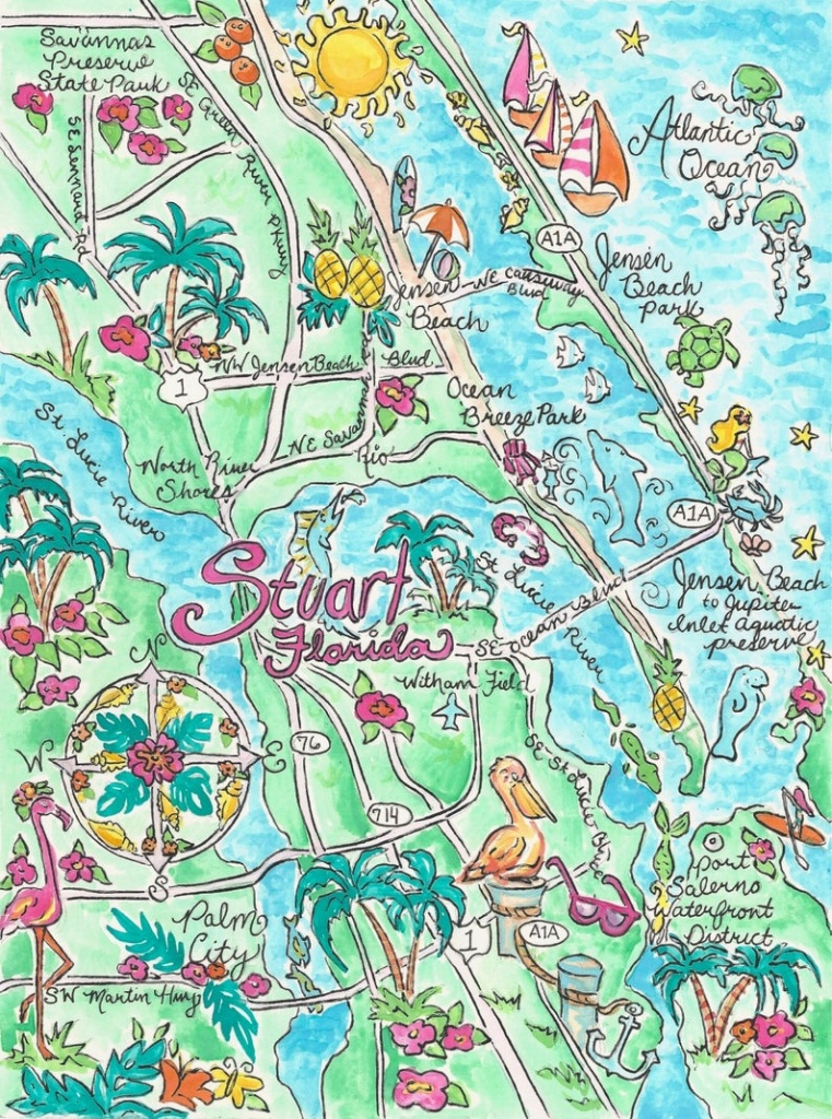 Watercolor Map Of Stuart Florida | Etsy - Map Showing Stuart Florida