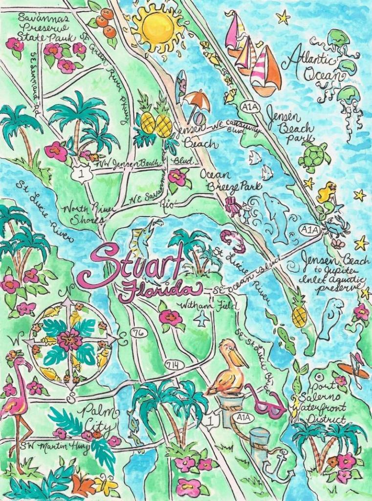 Watercolor Map Of Stuart Florida   Etsy - Watercolor Florida Map