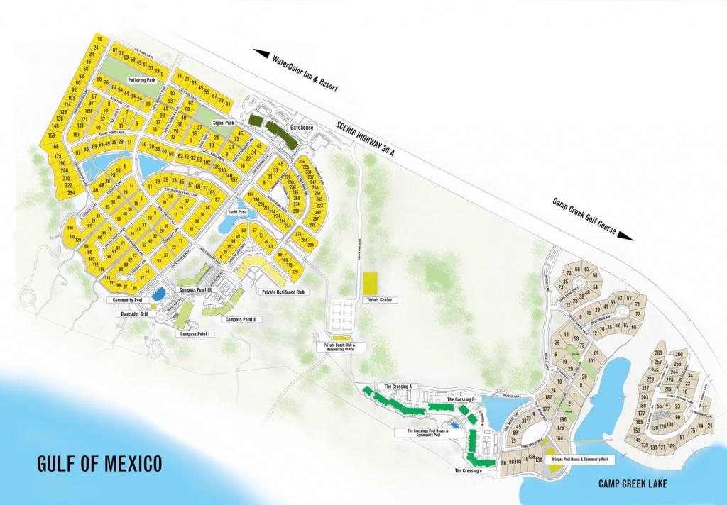 Watersound Florida Map   Beach Group Properties - Watercolor Florida Map