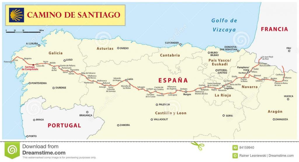 Way Of St. James Map Editorial Image. Illustration Of Destination - Printable Map Of Camino De Santiago