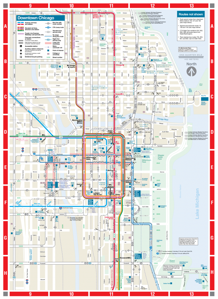 Web-Based Downtown Map - Cta - Printable Walking Map Of Downtown Chicago