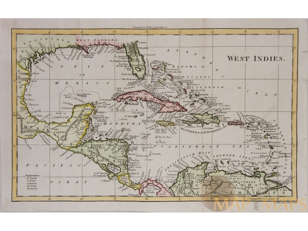 West Indies Antique Map Caribbean Islandswalker 1810 - Map Of Florida And Caribbean