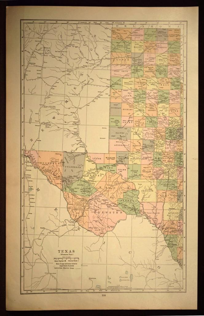West Texas Map Of Texas Wall Art Decor Large Antique Western Wedding - Texas Map Wall Decor