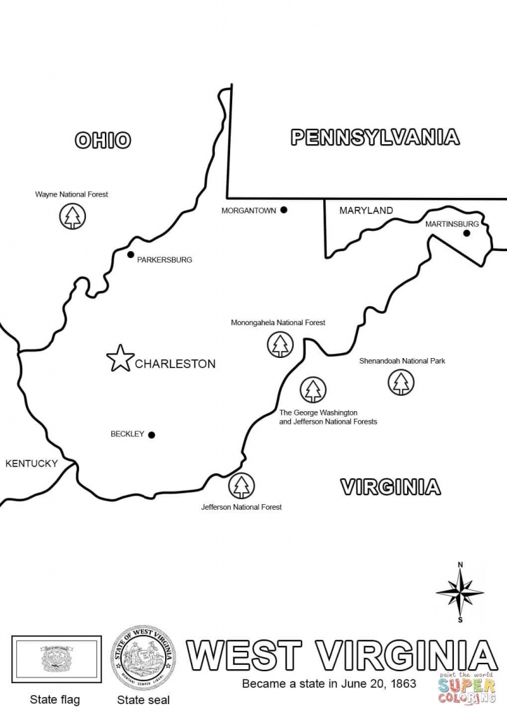 West Virginia State Map Coloring Page | Free Printable Coloring Pages - Printable Map Of West Virginia