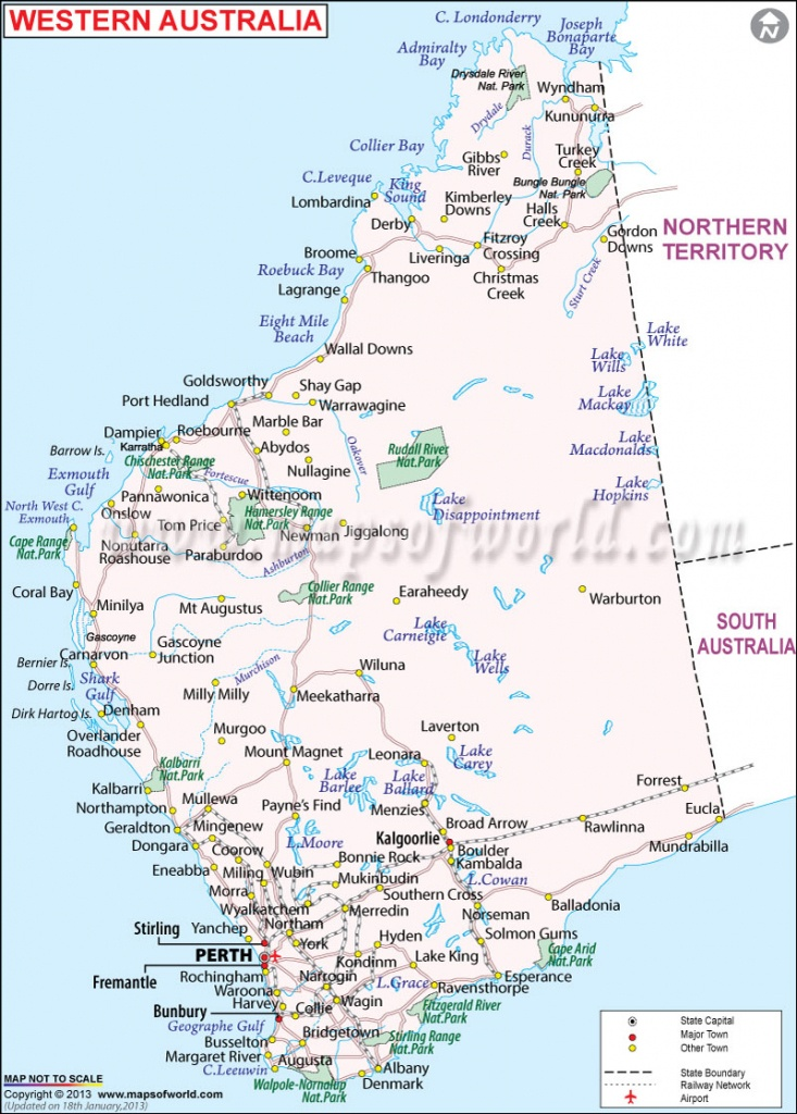 Western Australia Map | Map Of Western Australia - Maps Of World - Printable Map Of Western Australia