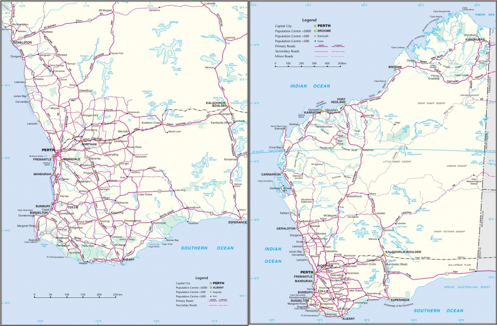 Western Australia Road Map - Printable Map Of Western Australia