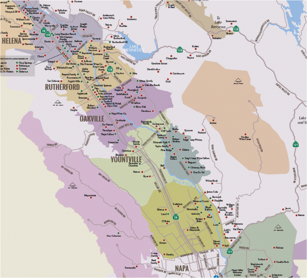 Where Is Yountville California On The Map Napa Valley Winery Map - Where Is Yountville California On The Map