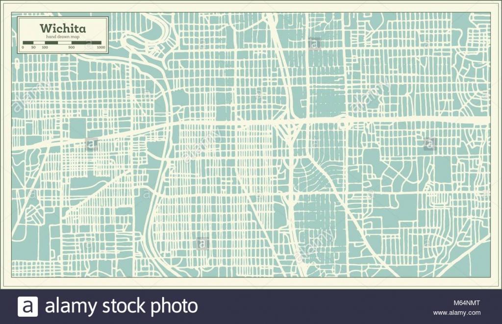Wichita Kansas Usa City Map In Retro Style. Outline Map. Vector - Printable Street Map Of Wichita Ks
