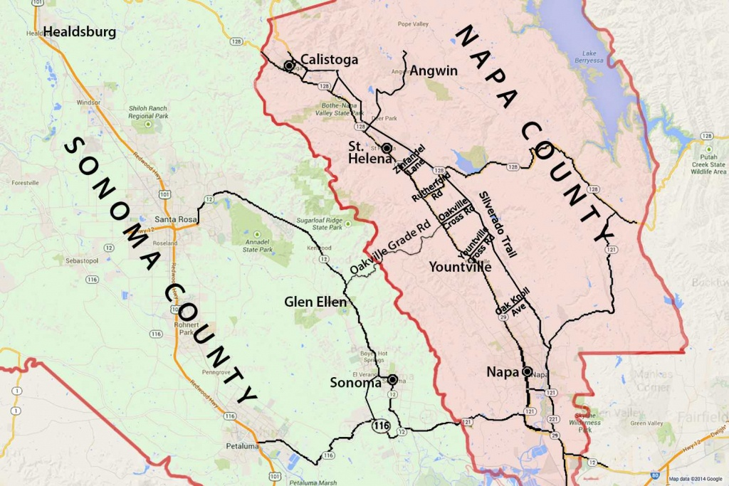 Wine Country Map: Sonoma And Napa Valley - California Wine Tours Map
