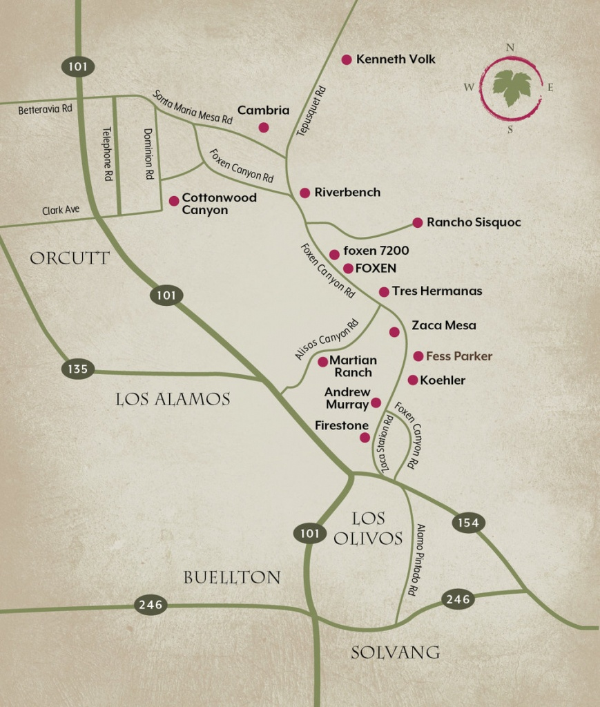 Wine Trail Map — Foxen Canyon Wine Trail - California Wine Trail Map