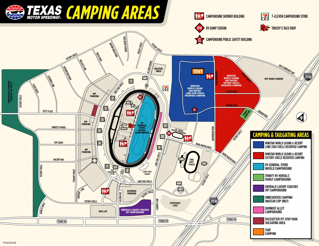 Winstar World Casino And Resort Reserved Camping - Texas Motor Speedway Parking Map