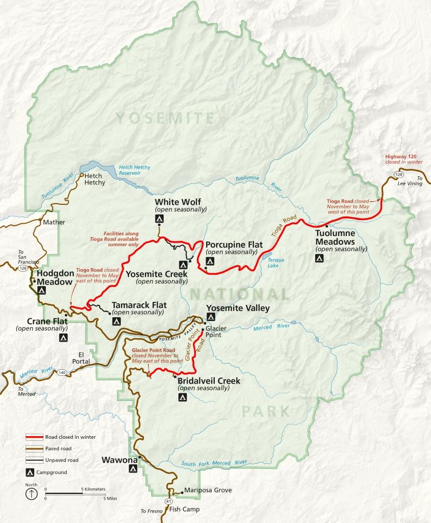 Winter Road Closures - Yosemite National Park (U.s. National Park - California Road Closures Map