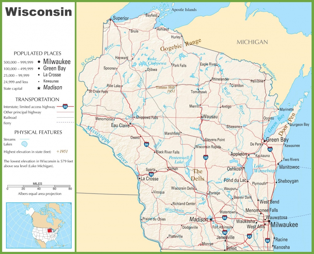 Wisconsin Highway Map - Printable Map Of Wisconsin