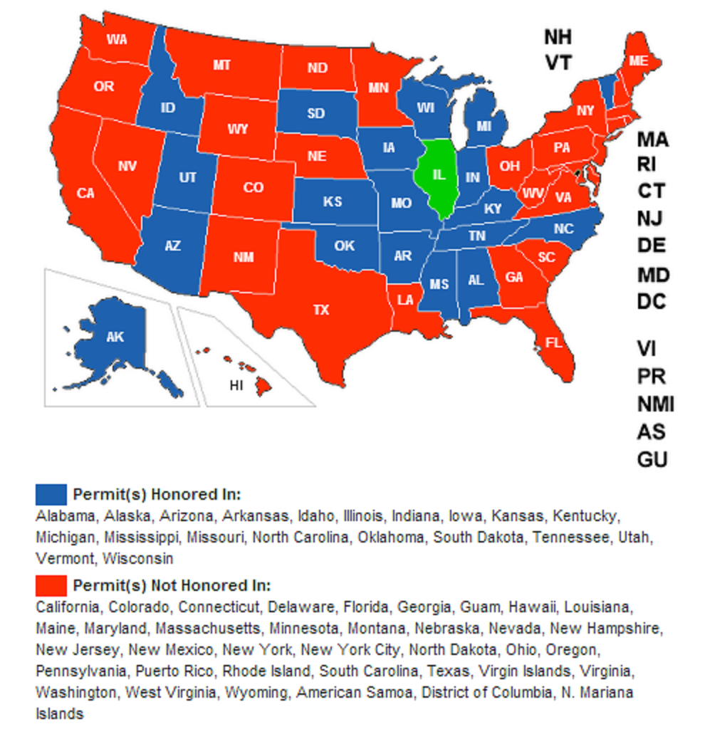 Wisconsin Now Recognizes The Illinois License To Carry — Illinois - Florida Concealed Carry Map