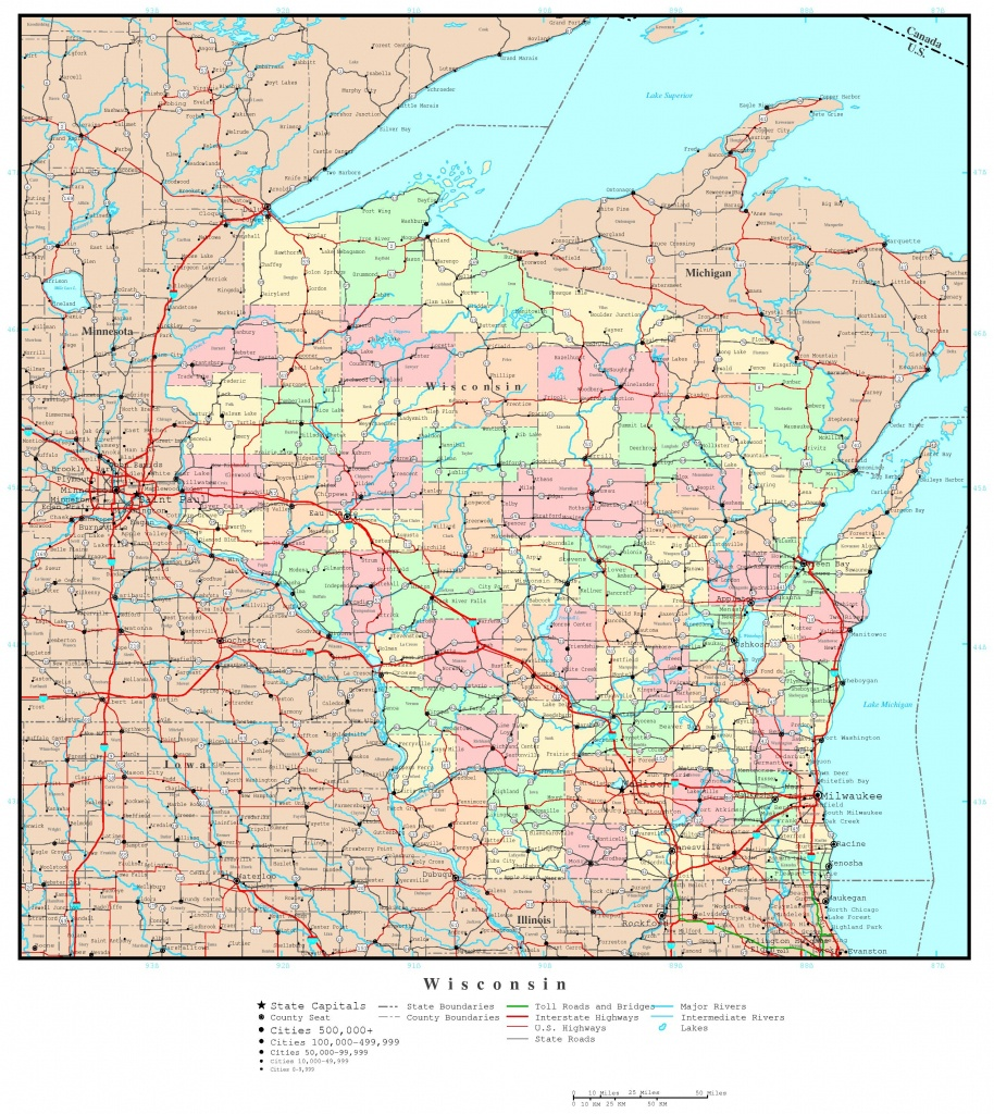 Wisconsin Political Map - Printable Map Of Wisconsin