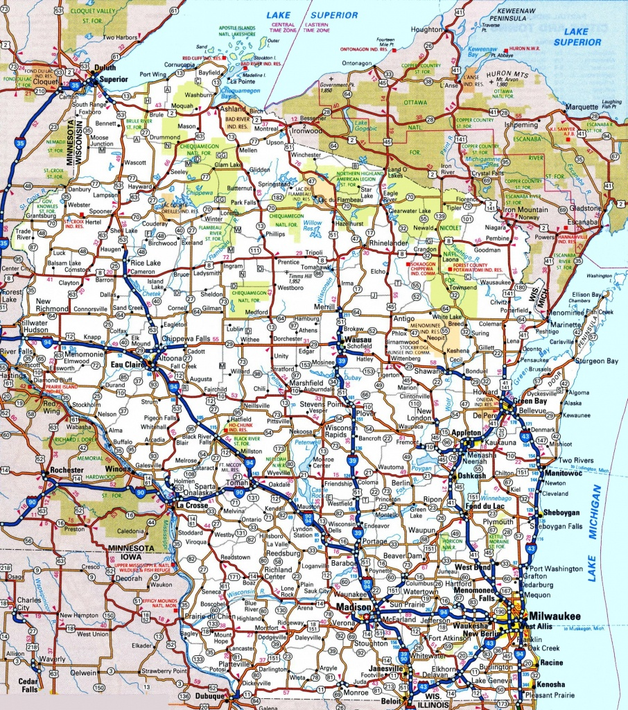 Wisconsin Road Map - Printable Map Of Wisconsin Cities