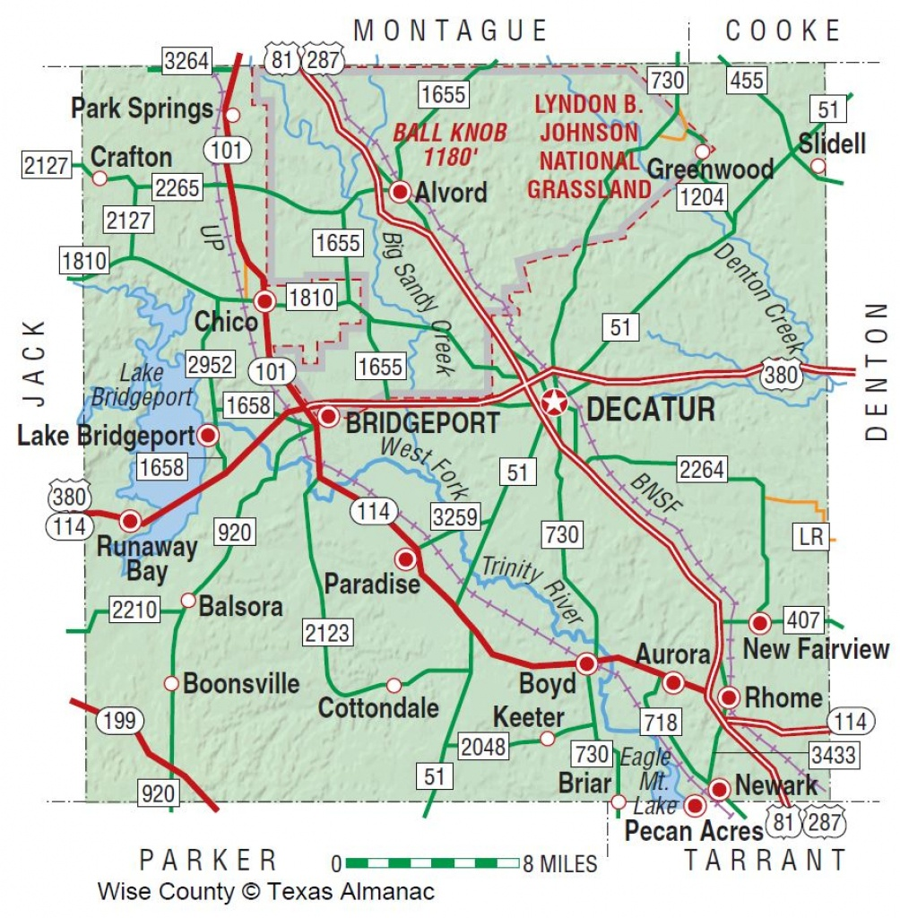Wise County | The Handbook Of Texas Online| Texas State Historical - Bridgeport Texas Map