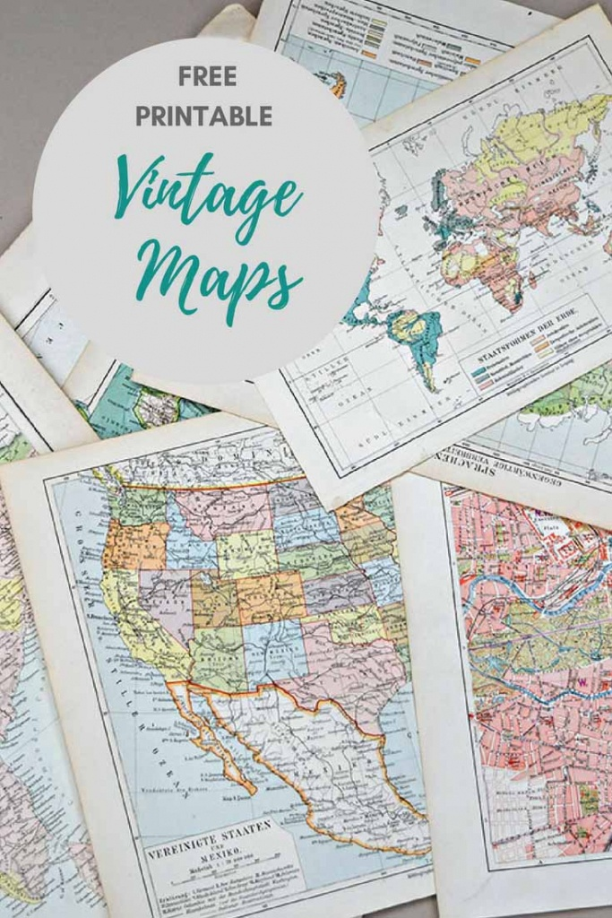 Wonderful Free Printable Vintage Maps To Download - Pillar Box Blue - Vintage Map Printable