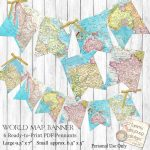 World Map Bunting. Map Garland, Printable Map Banner Travel Theme - Printable Map Banner