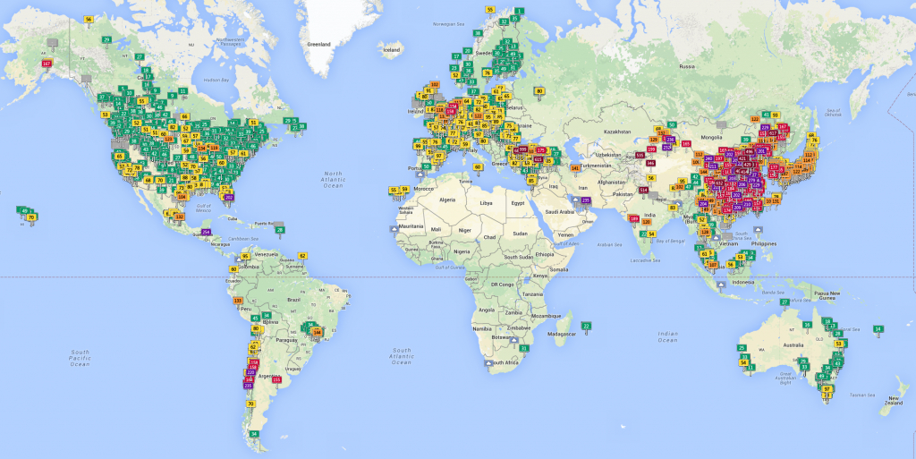 World Map Of Air Quality Index [Oc][1340X671] : Mapporn - Aqi Map California