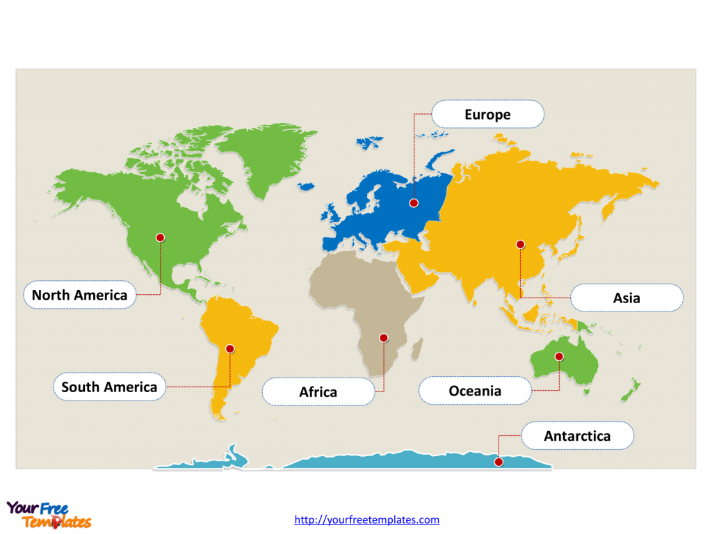 World Map With Continents - Free Powerpoint Templates - Printable Map Of Continents