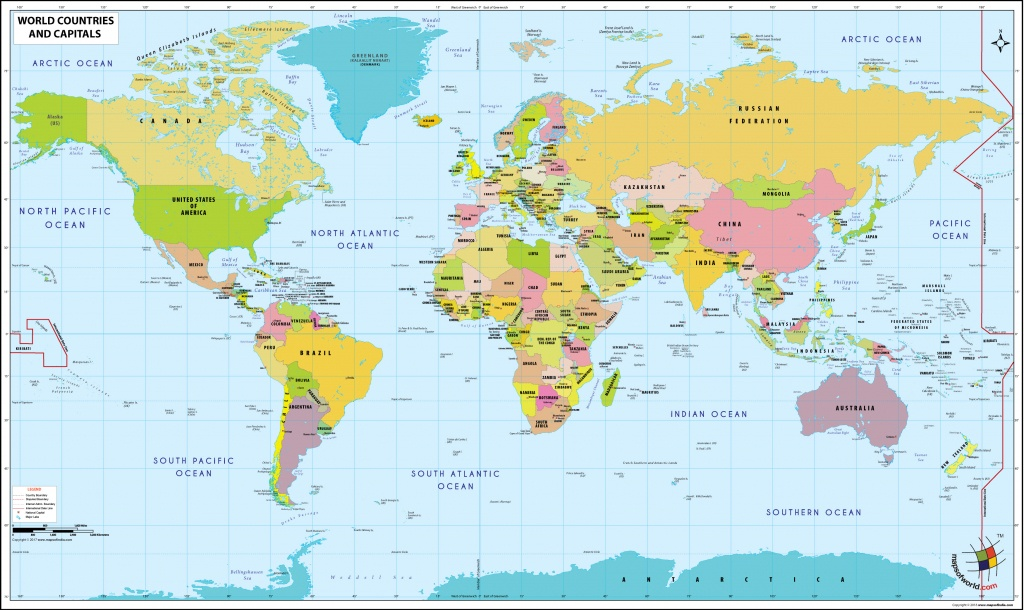 World Map With Countries And Capitals - Free Printable World Map With Country Names