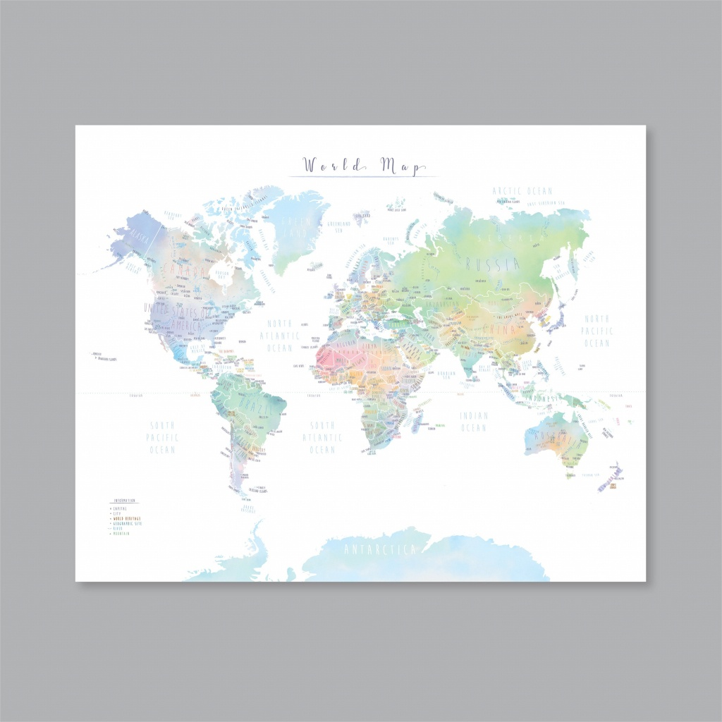 World Map With Countries Printable Map Of The World Wall Art   Etsy - World Map With Capital Cities Printable